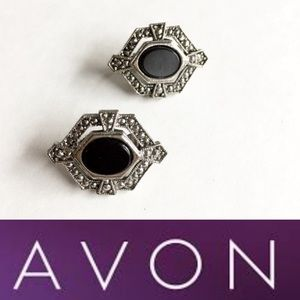 Vintage AVON Silver and Black Clip-on Earrings